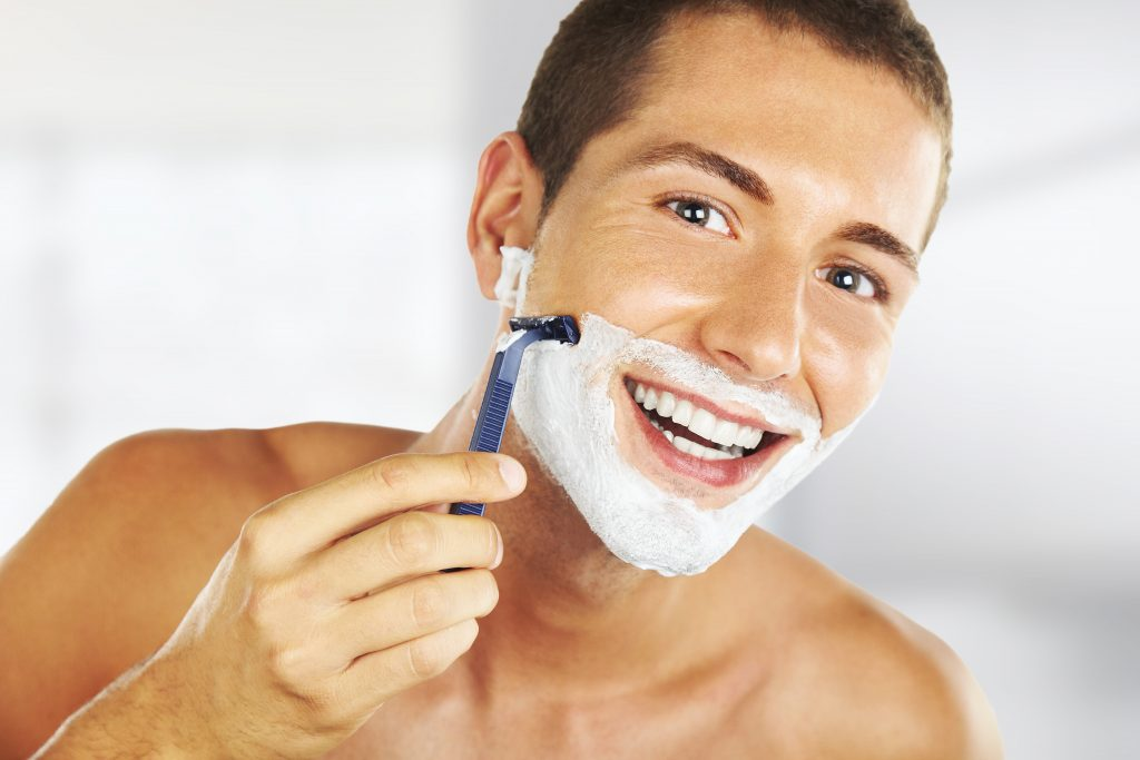 happy face during shave