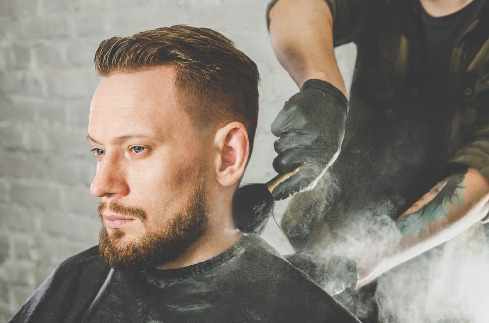 barber neck duster with powder dispenser