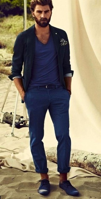 Blue Leather Brogues Casual Look