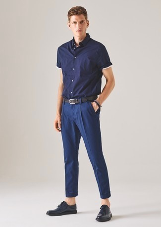 Blue Leather Derby Shoes Casual Look