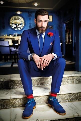 Blue Suede Brogues Formal Look