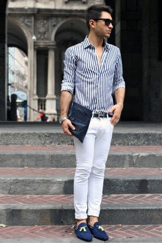 Blue Suede Loafers Casual Look