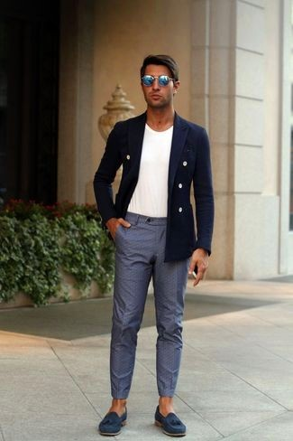 Blue Suede Tassel Loafers Casual Look
