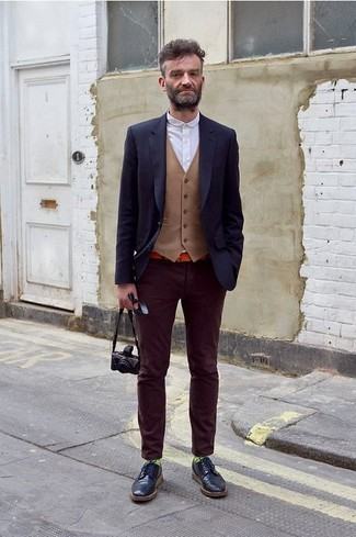 Navy Leather Brogues Formal Look