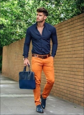 Navy Leather Oxford shoes Casual Look
