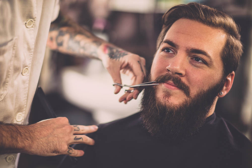 how to trim mustache with scissors
