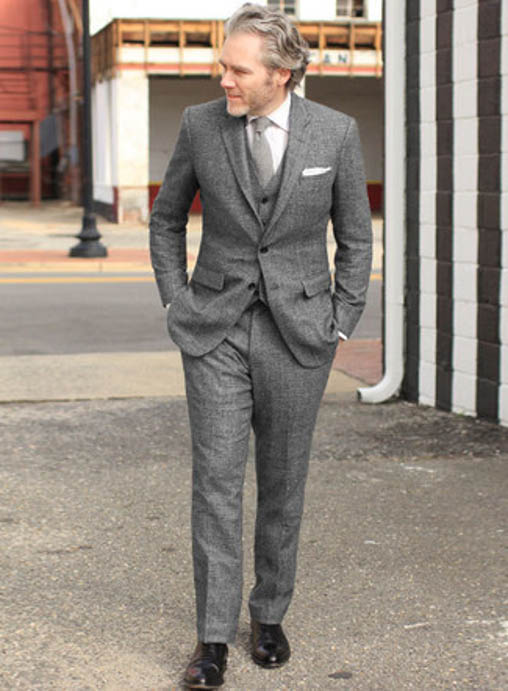 gray suit with black oxford