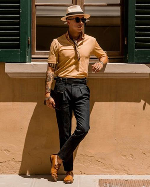 tobacco leather loafers casual look