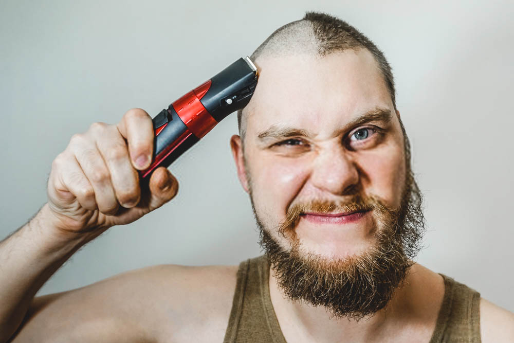 half head shaved with clipper