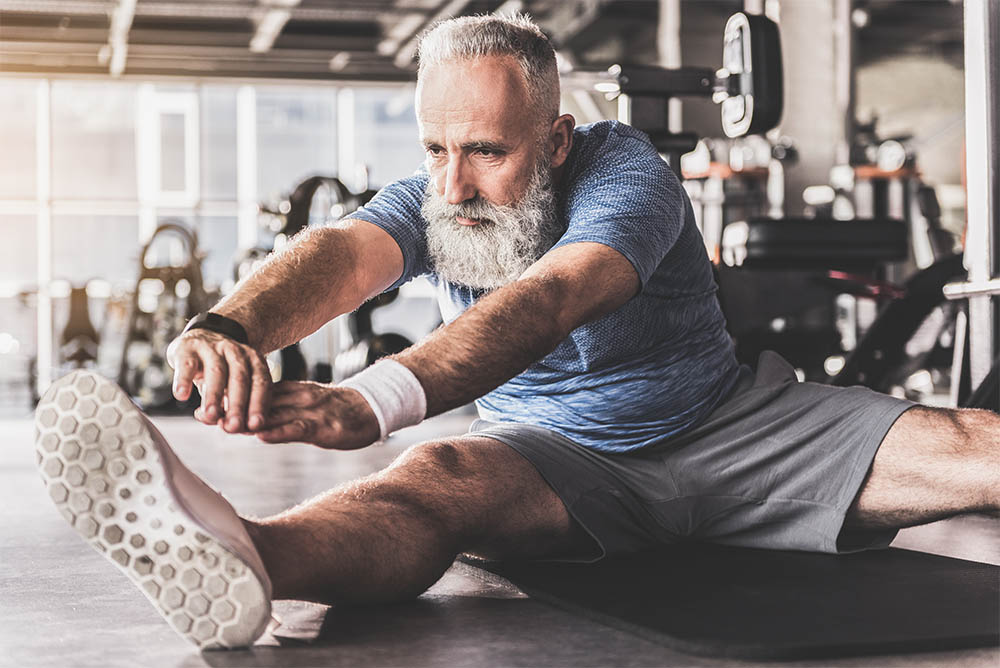Bearded Old Man Exercising