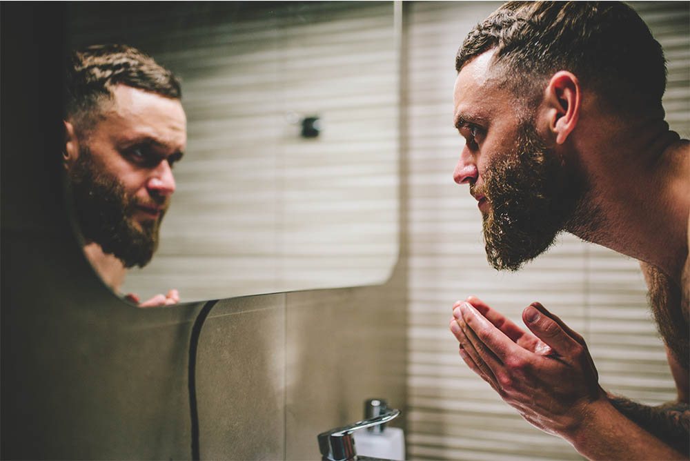 Men Washing Beard