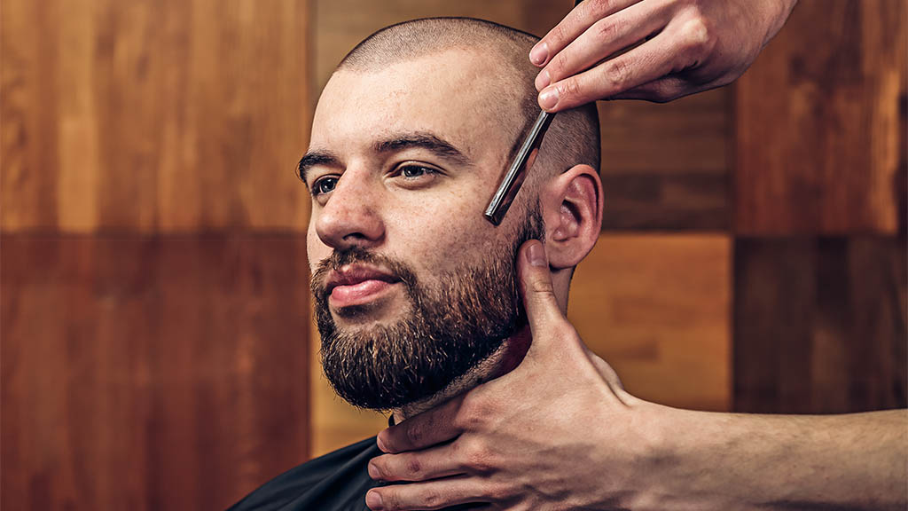 using straight razor on shaved head