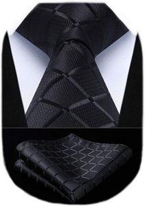 HISDERN Plaid Checkered Tie Handkerchief Woven Classic Men's Necktie & Pocket Square Set