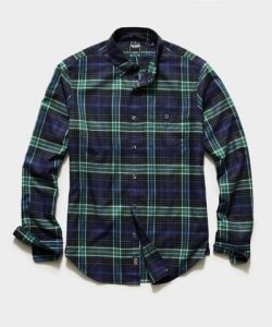 Todd Snyder Italian Navy Plaid Flannel Button-Down Shirt